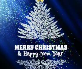 Abstract Christmas tree with blue background 01