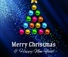 Abstract Christmas tree with blue background 02
