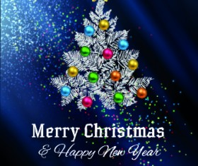 Abstract Christmas tree with blue background 03