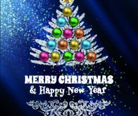 Abstract Christmas tree with blue background 04