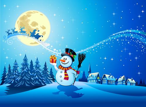 Fondo De Pantalla 3d De Navidad De Santa Vas De Luna Hd: Beautiful Christmas Night Winter Vector Background 01 Free