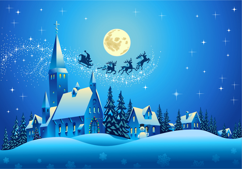 Beautiful Christmas Night winter vector background 02 - Vector ...