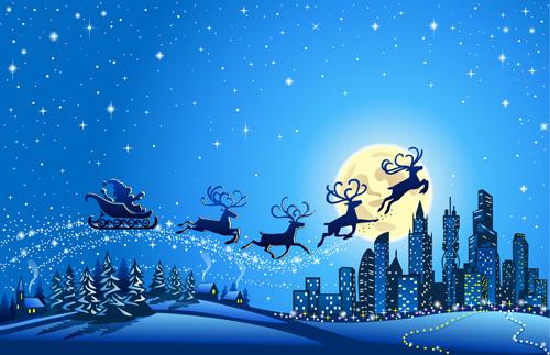 Beautiful Christmas Background.Beautiful Christmas Night Winter Vector Background 03 Free