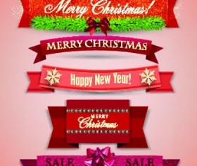 Beautiful Christmas robbon banners vector 01