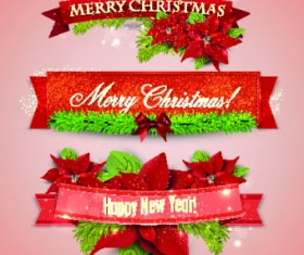Beautiful Christmas robbon banners vector 02