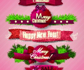Beautiful Christmas robbon banners vector 03