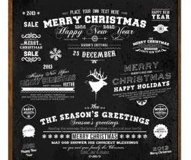 Black Style Christmas ornaments elements vector