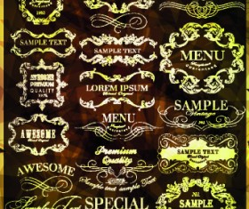 Vintage calligraphic design elements vector set 02