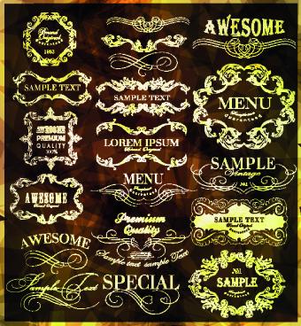 Vintage calligraphic design elements vector set 02