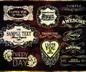 Vintage calligraphic design elements vector set 04