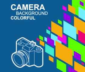 Camera with colorful background vector 01