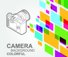 Camera with colorful background vector 02