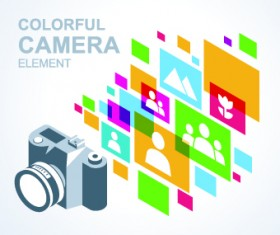 Camera with colorful background vector 03