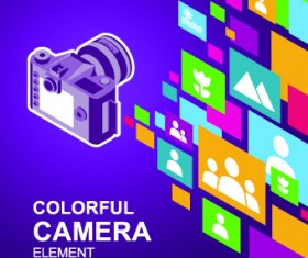 Camera with colorful background vector 04