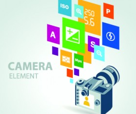 Camera with colorful background vector 05