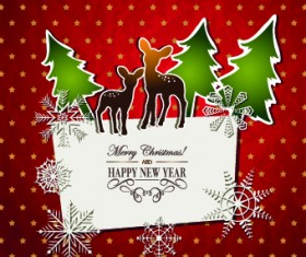 Christmas Paper cut cards vector