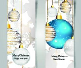 Shiny Christmas balls banner design vector 01