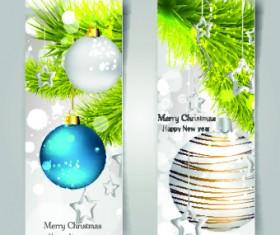 Shiny Christmas balls banner design vector 02