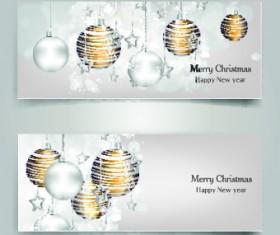Shiny Christmas balls banner design vector 03