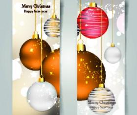 Shiny Christmas balls banner design vector 04