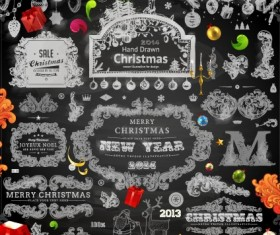 2014 Christmas black decoration and labels vector 01