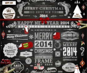 2014 Christmas black decoration and labels vector 02
