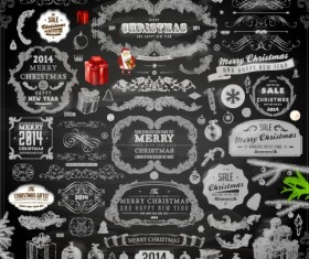 2014 Christmas black decoration and labels vector 03