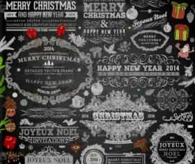 2014 Christmas black decoration and labels vector 05