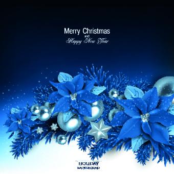 christmas blue pearl flower vector background - Christmas Blue