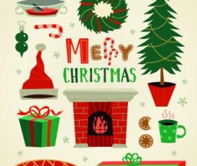2014 Christmas cute ornaments elements vector 04
