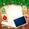 Christmas photo frame background vector 02