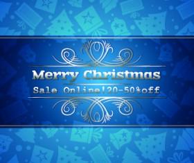 Christmas sale blue vector background