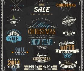 Christmas sale labels elements vector 02