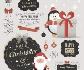 Christmas sale labels elements vector 03