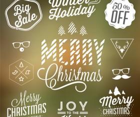 Christmas sale labels elements vector 01