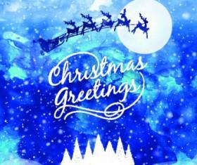 Christmas snow night vector background 01