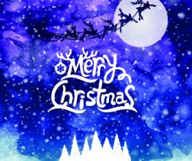 Christmas snow night vector background 02