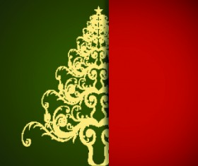 Christmas tree with background vector 02