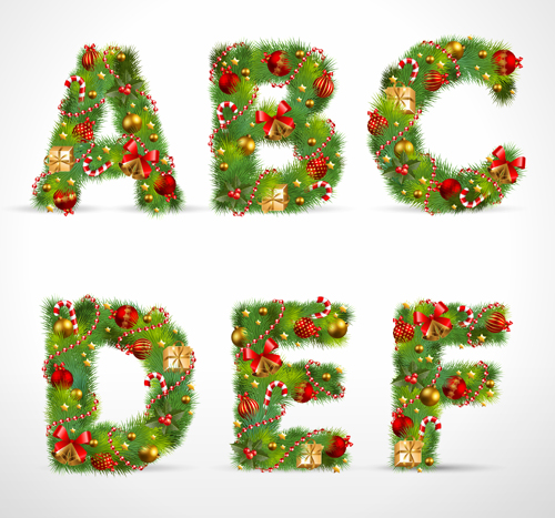 Creative Christmas Tree Alphabet And Number Vector Set 20