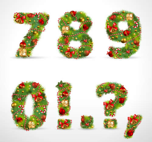 Creative Christmas Tree alphabet and number vector set 26 - Vector ...