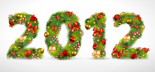 Creative Christmas Tree alphabet and number vector set 27