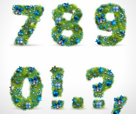 Creative Christmas Tree alphabet and number vector set 33