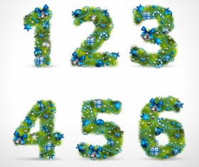 Creative Christmas Tree alphabet and number vector set 34