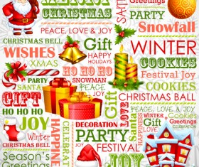 Creative Christmas font and elements vector