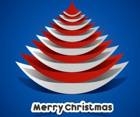 Creative Paper Christmas tree background vector 02