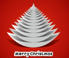 Creative Paper Christmas tree background vector 03
