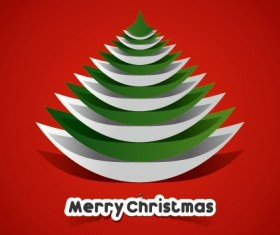 Creative Paper Christmas tree background vector 05