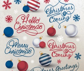 Creative christmas calligraphy design vector set 02