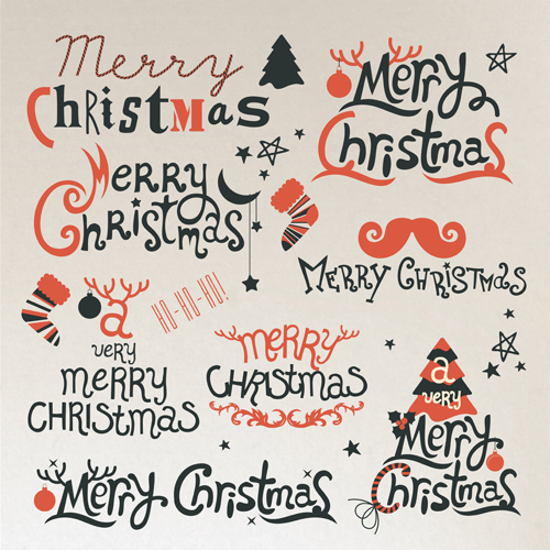 Creative christmas calligraphy design vector set
