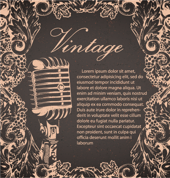 Creative vintage music background vector set 02 - Vector ...